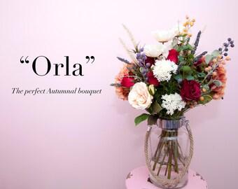 Autumnal Bouquet artificial flowers and vase
