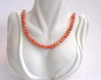 Early 20th Century Angel-Skin Coral Bead Necklace
