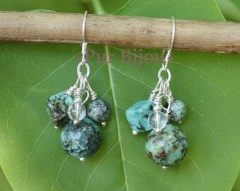 Earrings 925 Silver - gemstone - African Turquoise and silver Turquoise Crystal