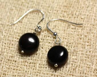 925 Sterling Silver earrings - Obsidian black beads 10 mm