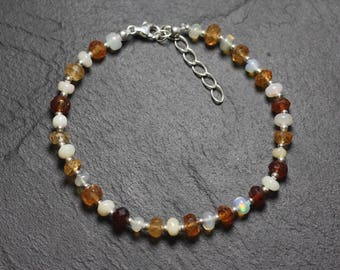 Bracelet 925 sterling silver and stones - opal and Garnet Hessonite Rondelle 3-5mm