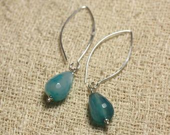 Earrings Silver 925 hooks 40mm - blue Agate drops faceted 14x10mm
