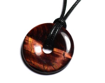 Stone - eye of Bull ft 30mm Donut pendant necklace
