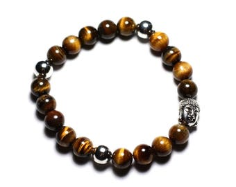 Buddha and gemstone - 8mm Tiger eye bracelet