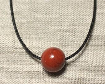 Semi precious stone pendant necklace - Jasper red ball 14mm
