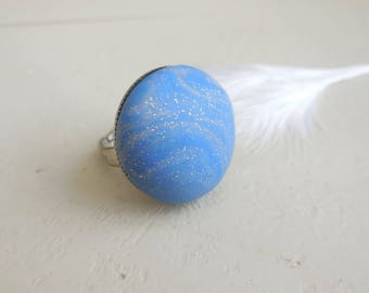 Caribbean blue domed fancy ring