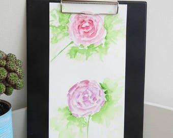 Original watercolor painting pink