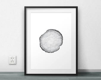 Printable Art, Tree Rings, Instant download, Nature Prints, Nature Decor, Rustic Prints, Black and White, Poster, Modern design