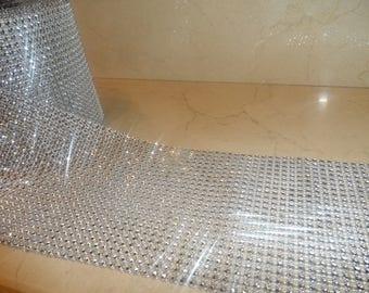 1 meter of trim 12 cm wide silver rhinestones