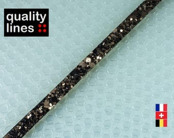 X 1 M - 5mm flat 2 mm Brown leather bronze glitter by the yard