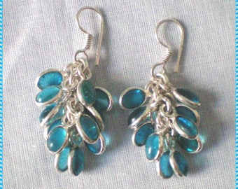Blue Quartz and 925 sterling silver - natural gemstone - 45mm - artisan earrings
