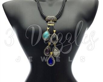 Multi Station Gemstone Necklace. Artisan Jewelry Adorned with Swarovski Crystals