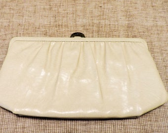 Vintage 1960s Mardone  Handbag Purse Clutch Cream and Gold Tone Hardware