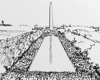 Black and White Drawing of the March on Washington
