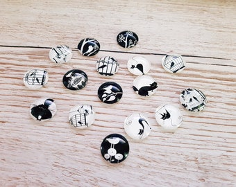 Illustrated black and white cabochons
