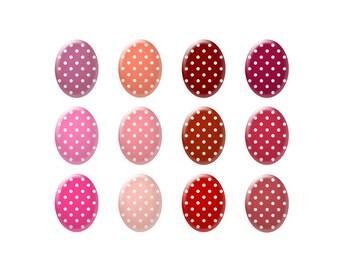 Digital bottle cap images - Pink and red polka dot images - Ovals - Bottle cap jewelry patterns - Digital images