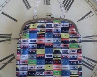 Retro cassette tape handmade bag