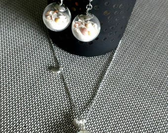 Adornment necklace and earrings natural white sand glass globe and shells natural stainless steel