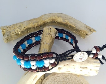 wrap bracelet a swarovski crystal round wooden beads and glass