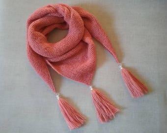 Trendy pink diamond shawl tassels and beads