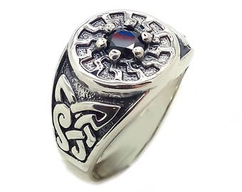 Black Sun Symbol Sun Wheel Occult Schwarze Sonne Men Ring Silver SKU4004