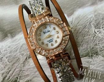 Elegant woman round rose gold white ridged cuff bracelet gold