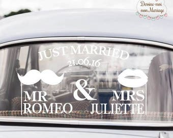 "Stickers of car wedding personalized ""Mr & Mrs"" - for a custom decoration"