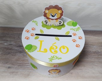 Urn baptism themed Jungle lion custom yellow, green, Brown, orange