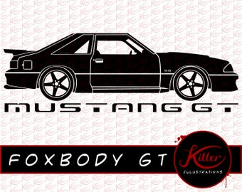 Foxbody GT Vector | Muscle Car Clip Art | Cut File| Instant Digital Download | Svg | Png | Pdf | Jpg | Eps | Dxf |
