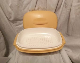 vintage harvest gold microwave steamer from tupperware