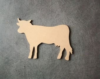 Cow wooden mdf backing lank... 16 cm x 10.5 cm