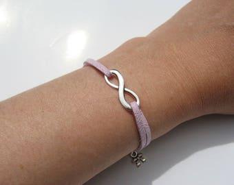 Lilac suede infinity bracelet