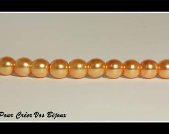 Orange set of 50 glass beads 6 mm