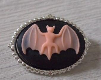 Brooch pendant Gothic Halloween bat Bats mouse V2 black & Rose