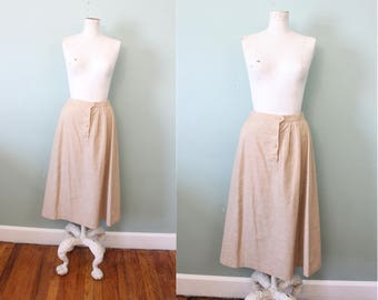 1970s Natural Flax Woven Linen Midi Knee Length A-Line Skirt / Small – Medium
