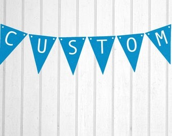 Bright Blue & White Custom Personalised Flag Bunting - Birthday Wedding Engagement Baby Shower Baptism Hens Bucks Farewell Party Banner Sign