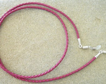 GLASSES jewelry Fuchsia braided leather cord