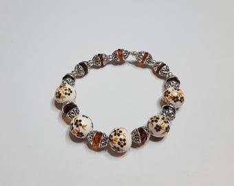 Chunky silver porcelain and Brown swarovski crystal Stretch Bracelet