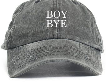 Boy Bye Dad Hat Adjustable Baseball Cap New - Black Denim