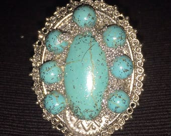 Bohemian 1 turquoise and silver Adjustable ring