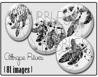 Dreamcatcher Printable Images Digital Collage Sheet for Jewelry Making - Digital collage sheets