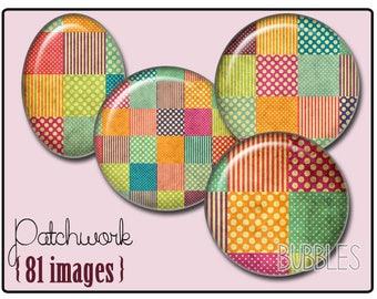 Patchwork Printable Images Digital Collage Sheet for Jewelry Making - Digital collage sheets