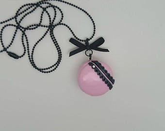 Lace macaroon necklace polymer clay