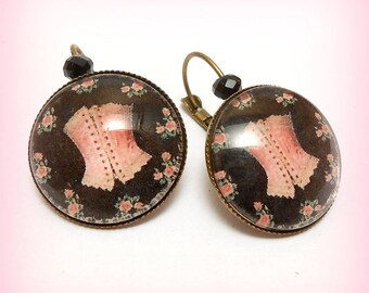 "Earrings cabochon ""Corset lace roses!"""