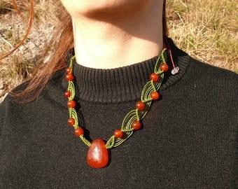 Carnelian - Stone drilled - macrame necklace