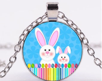 "Necklace ""rabbits lapinoux"" kawaii Locket glass cabochon pendant"