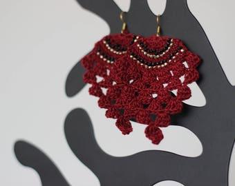 """Pineapple"" style hook earrings (fuschia and gold)"
