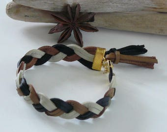 Black and brown leather braided bracelet