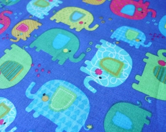 Blue fabric with elephants - cotton