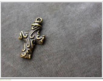 set of 4 cross pendants in brass